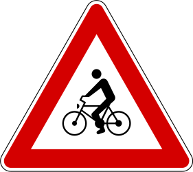 Traffic sign of Slovenia: Warning for cyclists