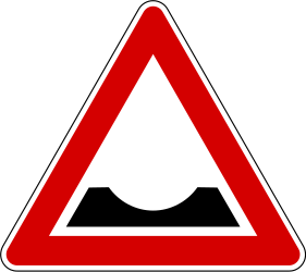 Traffic sign of Slovenia: Warning for a dip in the road