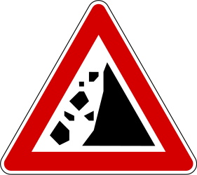 Traffic sign of Slovenia: Warning for falling rocks