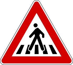 Traffic sign of Slovenia: Warning for a crossing for pedestrians