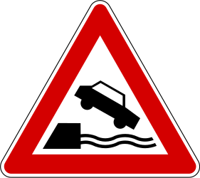 Traffic sign of Slovenia: Warning for a quayside or riverbank