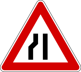 Traffic sign of Slovenia: Warning for a road narrowing on the left
