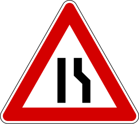 Traffic sign of Slovenia: Warning for a road narrowing on the right