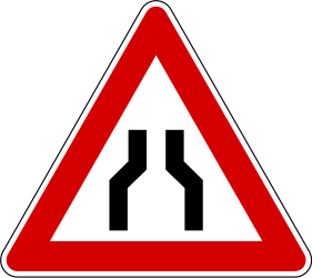 Traffic sign of Slovenia: Warning for a road narrowing