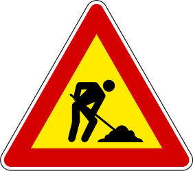 Traffic sign of Slovenia: Warning for roadworks