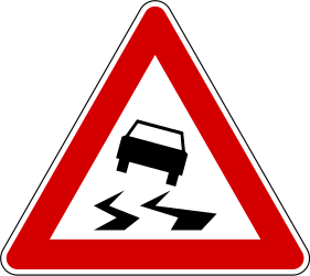 Traffic sign of Slovenia: Warning for a slippery road surface