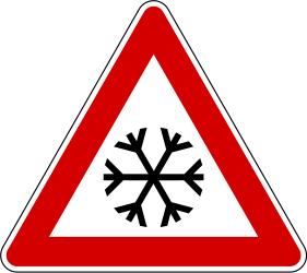 Traffic sign of Slovenia: Warning for snow and sleet