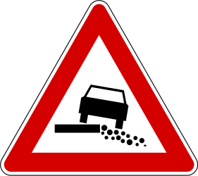 Traffic sign of Slovenia: Warning for a soft verge