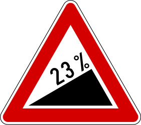 Traffic sign of Slovenia: Warning for a steep ascent