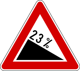 Traffic sign of Slovenia: Warning for a steep descent