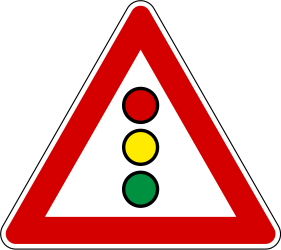 Traffic sign of Slovenia: Warning for a traffic light
