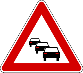 Traffic sign of Slovenia: Warning for traffic jams