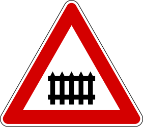 Traffic sign of Slovenia: Warning for a railroad crossing with barriers