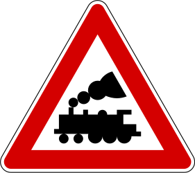 Traffic sign of Slovenia: Warning for a railroad crossing without barriers