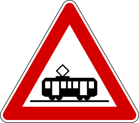 Traffic sign of Slovenia: Warning for trams