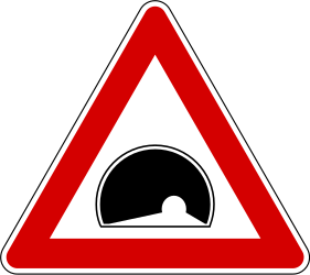 Traffic sign of Slovenia: Warning for a tunnel