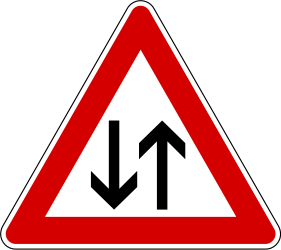 Traffic sign of Slovenia: Warning for a road with two-way traffic