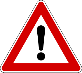Traffic sign of Slovenia: Warning for a danger with no specific traffic sign