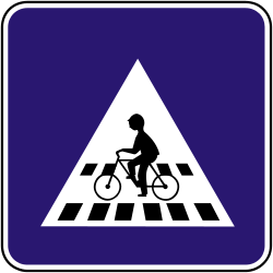 Traffic sign of Slovakia: Crossing for cyclists