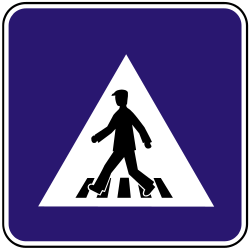 Traffic sign of Slovakia: Crossing for pedestrians