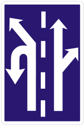 Traffic sign of Slovakia: Overview of the lanes and their direction