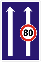 Traffic sign of Slovakia: Maximum speed of a lane
