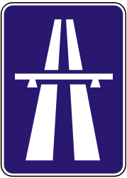Traffic sign of Slovakia: Begin of a motorway