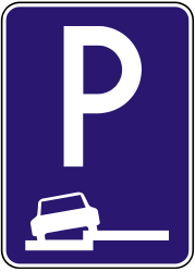 Traffic sign of Slovakia: Parking only allowed partly on the road