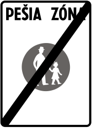 Traffic sign of Slovakia: End of the zone for pedestrians