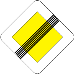 Traffic sign of Slovakia: End of the priority road