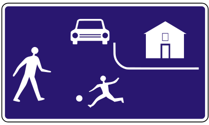 Traffic sign of Slovakia: Begin of a residential area