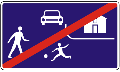 Traffic sign of Slovakia: End of the residential area