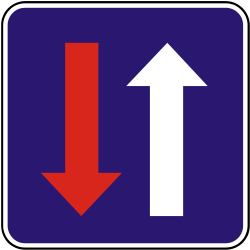 Traffic sign of Slovakia: Road narrowing, oncoming drivers have to give way