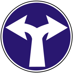 Traffic sign of Slovakia: Turning left or right mandatory