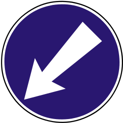 Traffic sign of Slovakia: Passing left mandatory