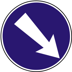 Traffic sign of Slovakia: Passing right mandatory