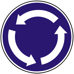 Traffic sign of Slovakia: Mandatory direction of the roundabout