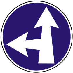 Traffic sign of Slovakia: Driving straight ahead or turning left mandatory