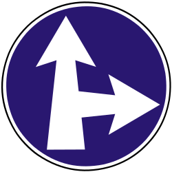 Traffic sign of Slovakia: Driving straight ahead or turning right mandatory