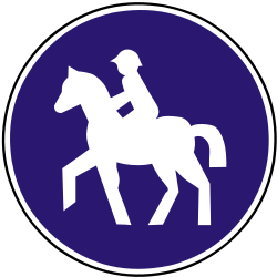 Traffic sign of Slovakia: Mandatory path for equestrians