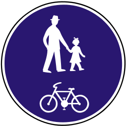 Traffic sign of Slovakia: Mandatory shared path for pedestrians and cyclists