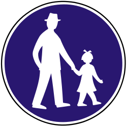 Traffic sign of Slovakia: Mandatory path for pedestrians