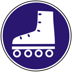 Traffic sign of Slovakia: Mandatory path for skaters