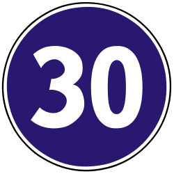 Traffic sign of Slovakia: Driving faster than indicated mandatory (minimum speed)