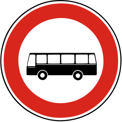 Traffic sign of Slovakia: Buses prohibited