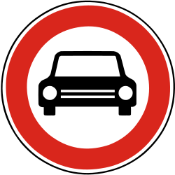 Traffic sign of Slovakia: Cars prohibited