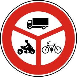 Traffic sign of Slovakia: Cyclists, motorcycles and trucks prohibited