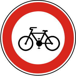 Traffic sign of Slovakia: Cyclists prohibited