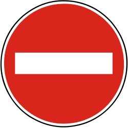 Traffic sign of Slovakia: Entry prohibited (road with one-way traffic)