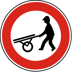 Traffic sign of Slovakia: Handcarts prohibited